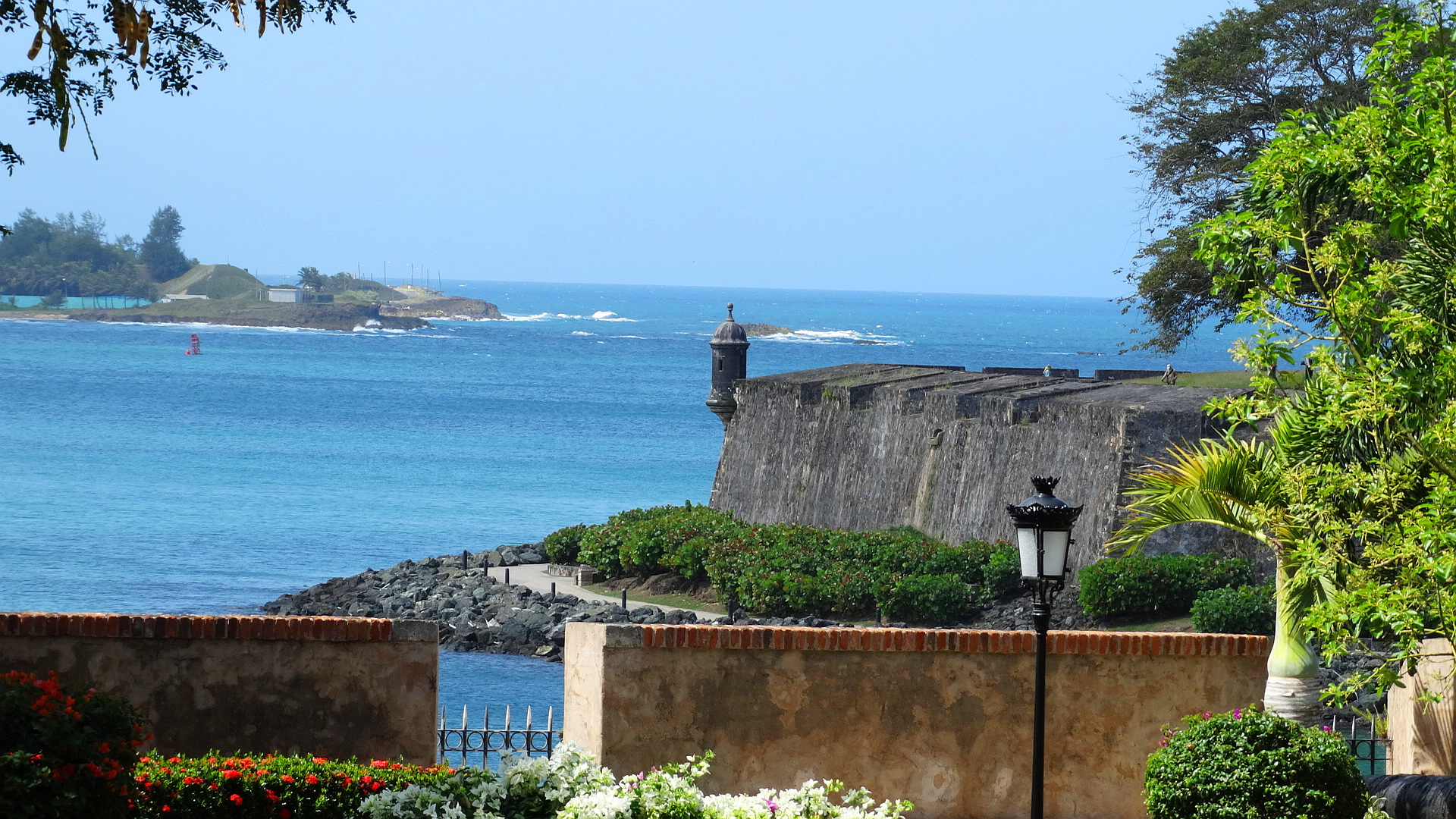 The Palacio is built on a prime ocean view spot in Old San Juan and is surrounded by La Forteleza or the old fort walls.